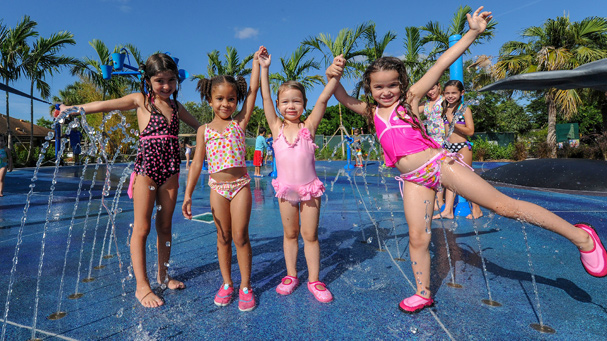 Splash pads help cool the family down in the Summer time at Zoo Miami.